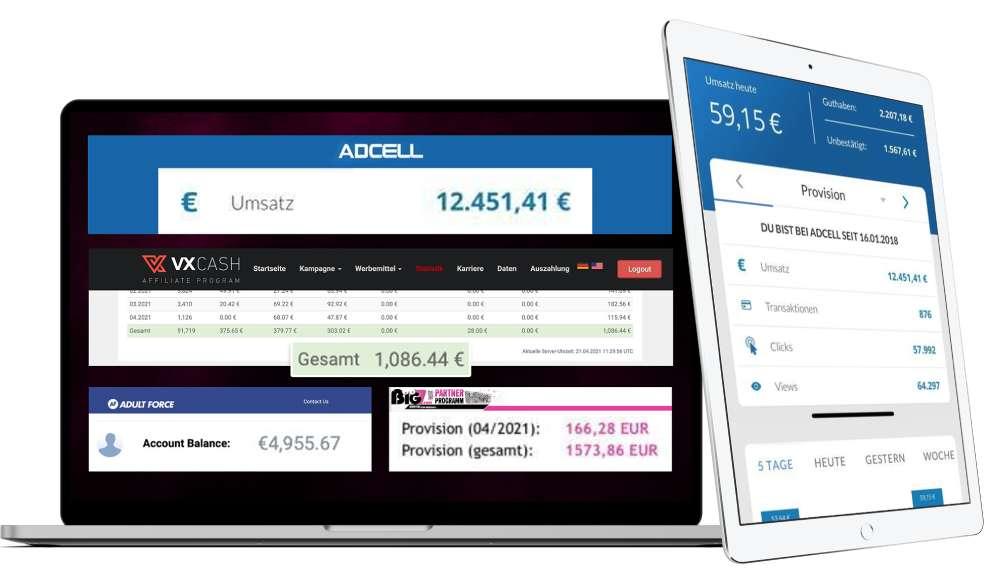 Smartphone Business System Adcell Einnahmen